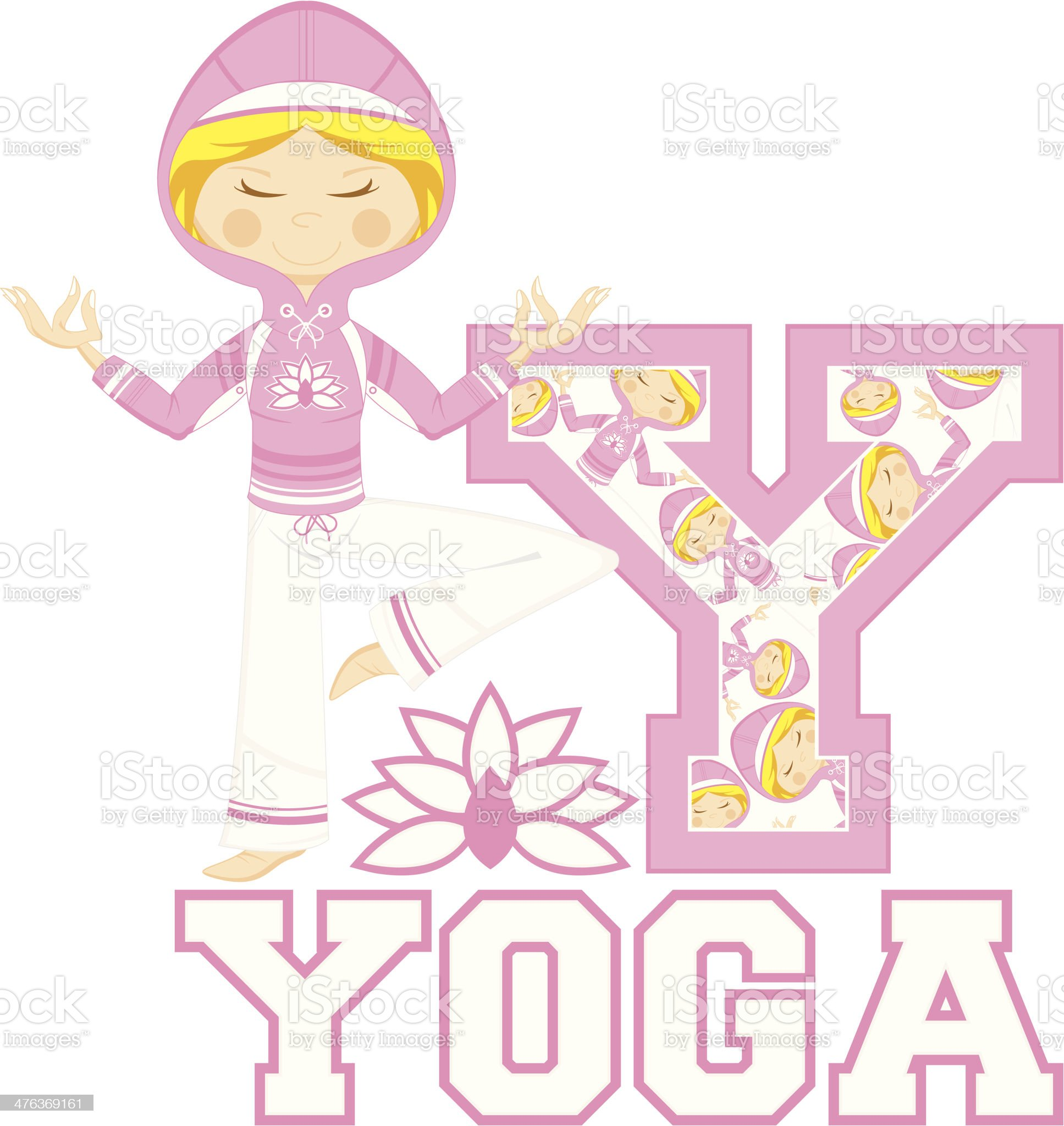 Yoga Girl Learning Letter Y royalty-free stock vector art