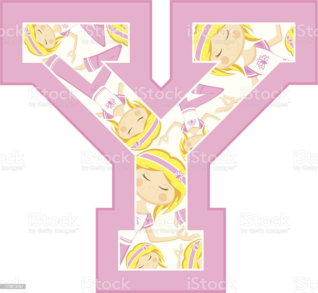 Yoga Girl Patterned Learning Letter Y royalty-free stock vector art