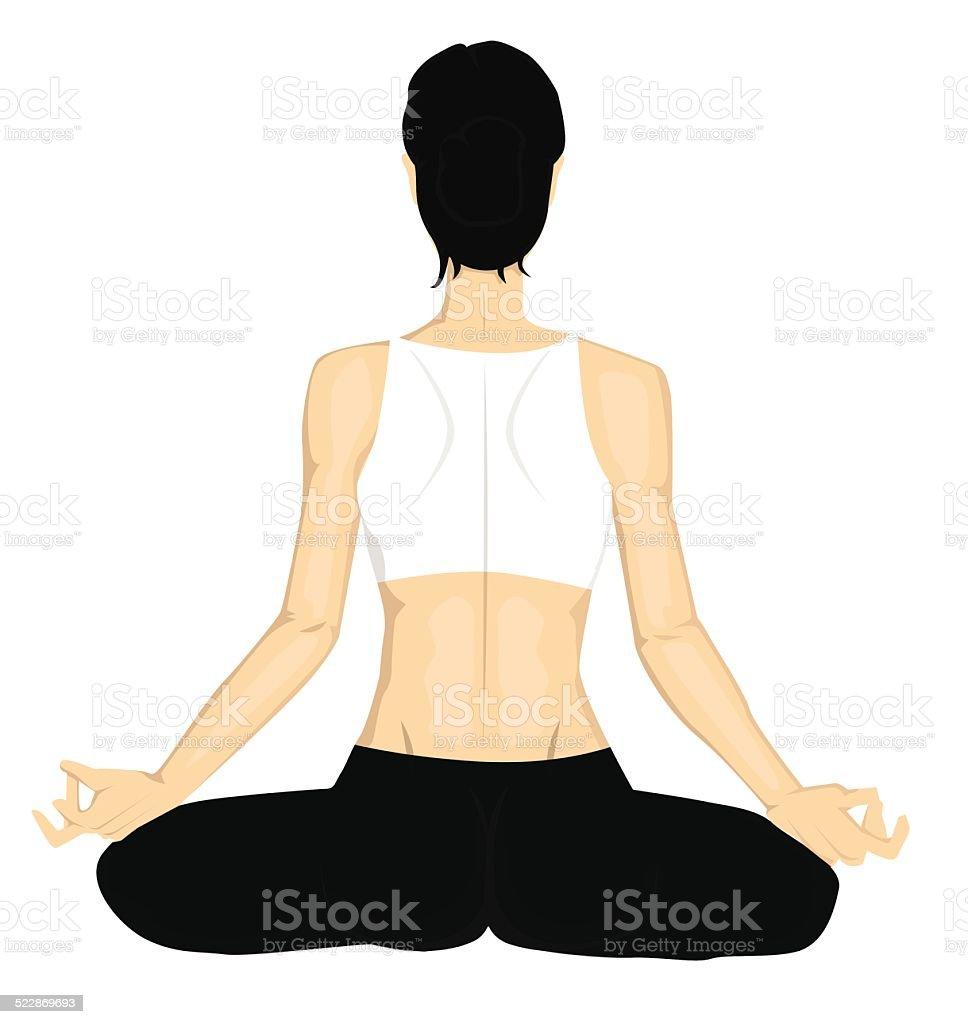 Petite fille Yoga stock vecteur libres de droits libre de droits