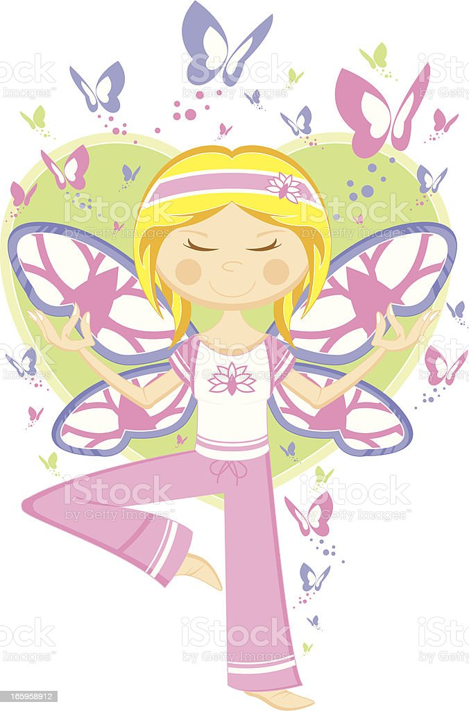 Yoga Girl with Butterflies & Heart royalty-free stock vector art
