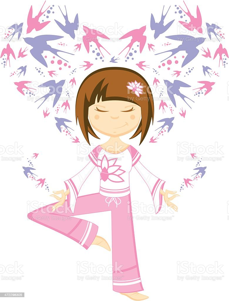 Yoga Girl with Swallows royalty-free stock vector art