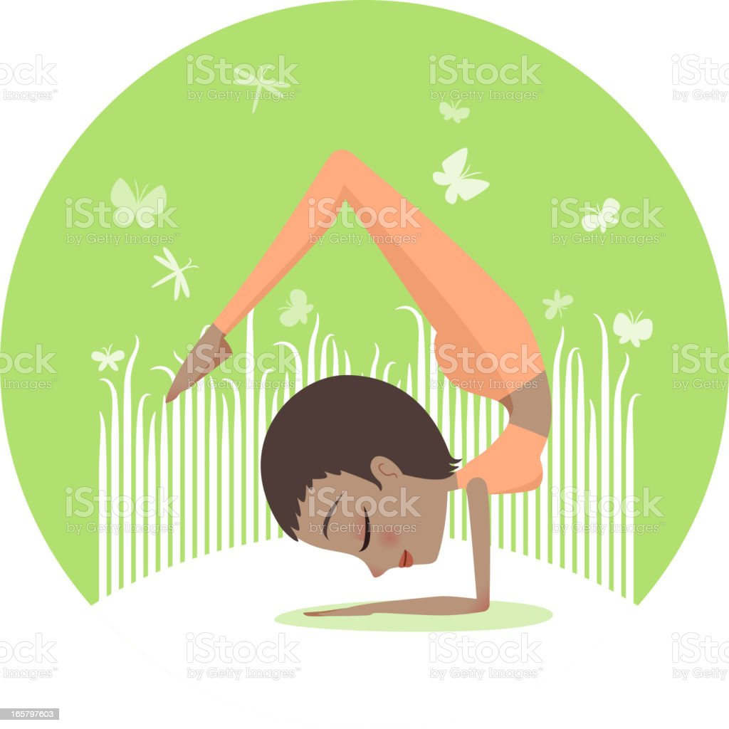Yoga Handstand Scorpion pose royalty-free stock vector art