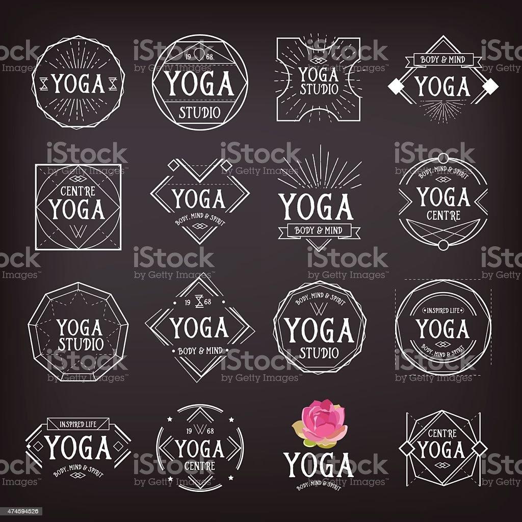 Yoga icons badges. vector art illustration