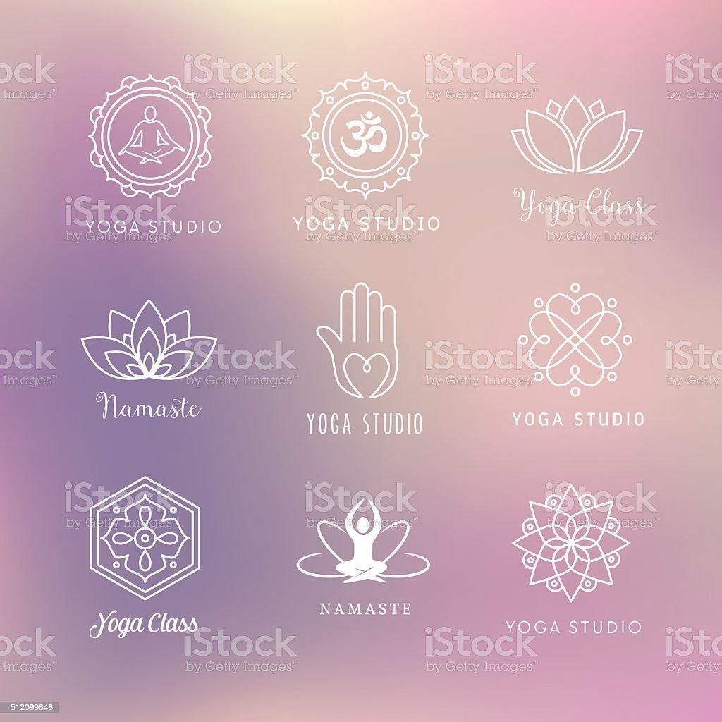 Yoga Icons - Symbols vector art illustration