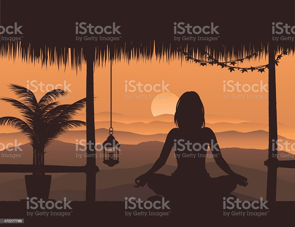 Yoga in a hut royalty-free stock vector art