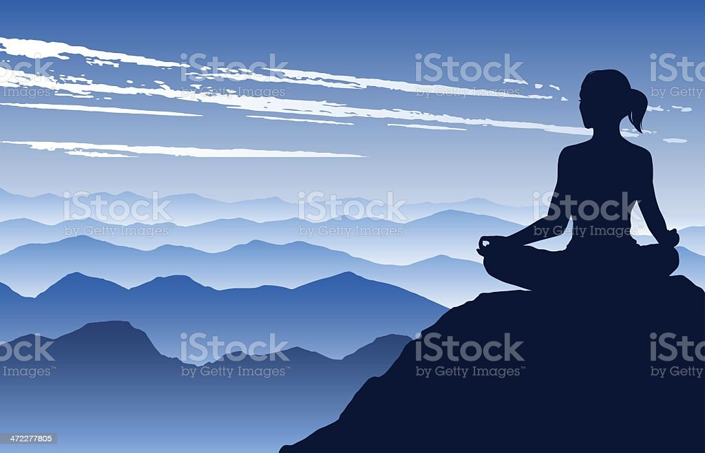 Yoga in the Mountains vector art illustration