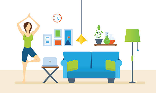 Illustration Yoga Interior Of The Room Furniture For Relaxing Quiet Atmosphere Vector Art