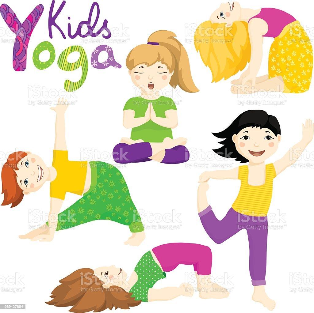Yoga kids set 2 vector art illustration