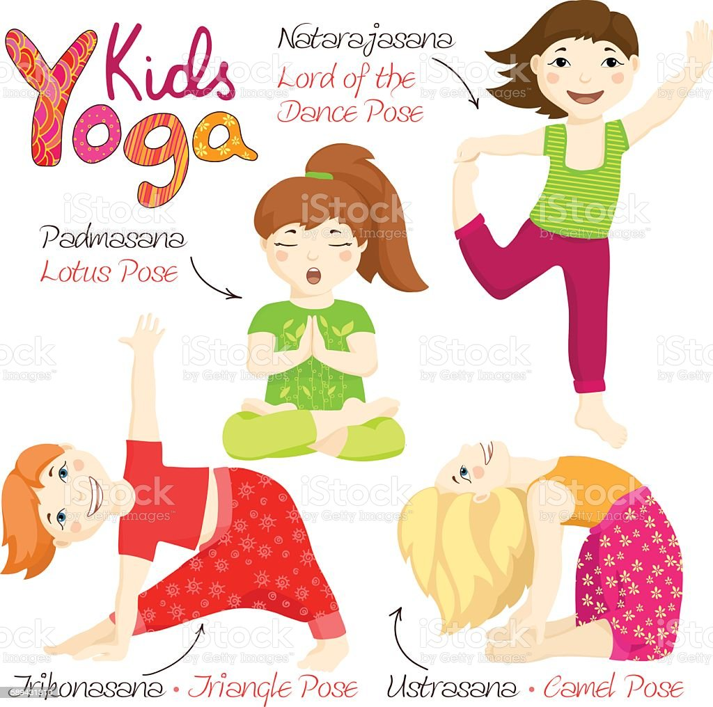 Yoga kids set 3 vector art illustration