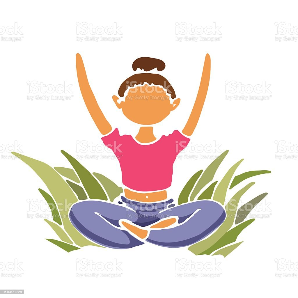 Yoga lady sitting in lotus position with hands raised. vector art illustration