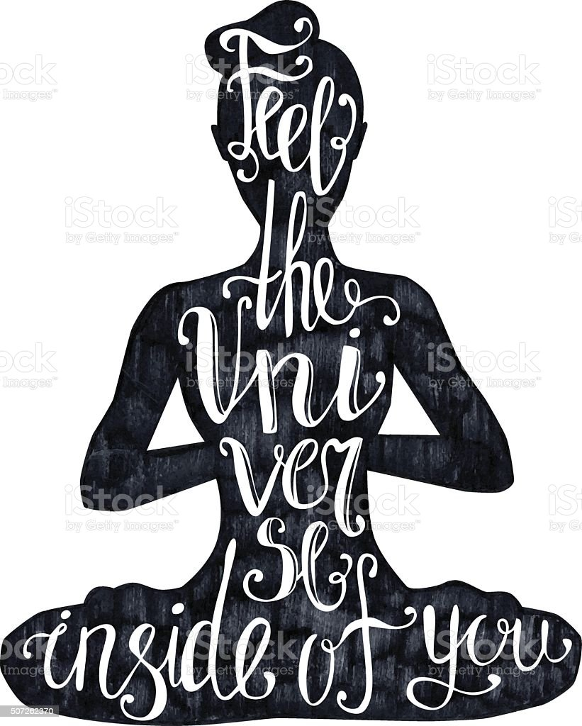 Yoga lettering on black vector art illustration