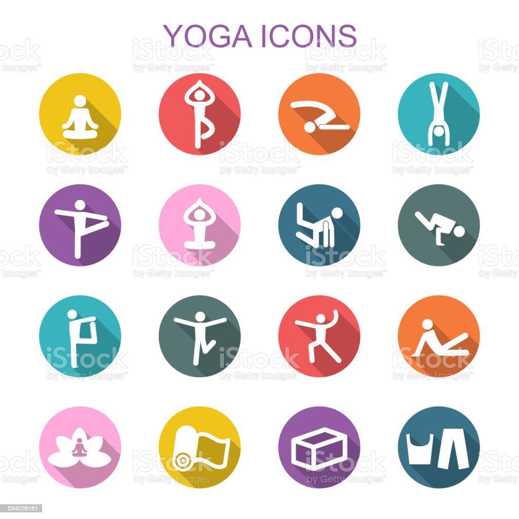yoga long shadow icons vector art illustration