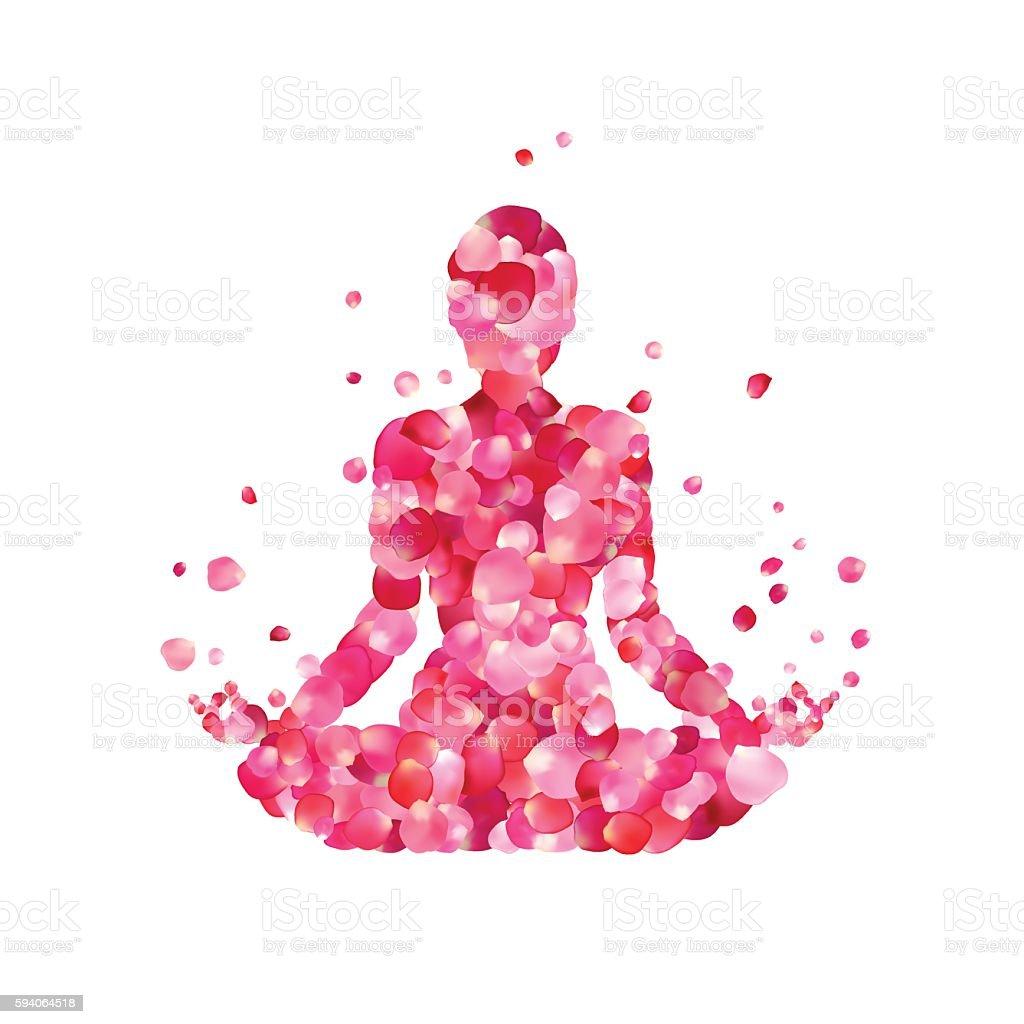 Yoga lotus pose silhouette vector art illustration
