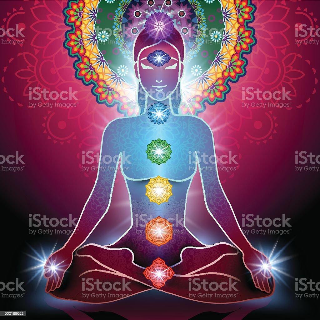 Yoga Lotus Position and Chakra vector art illustration