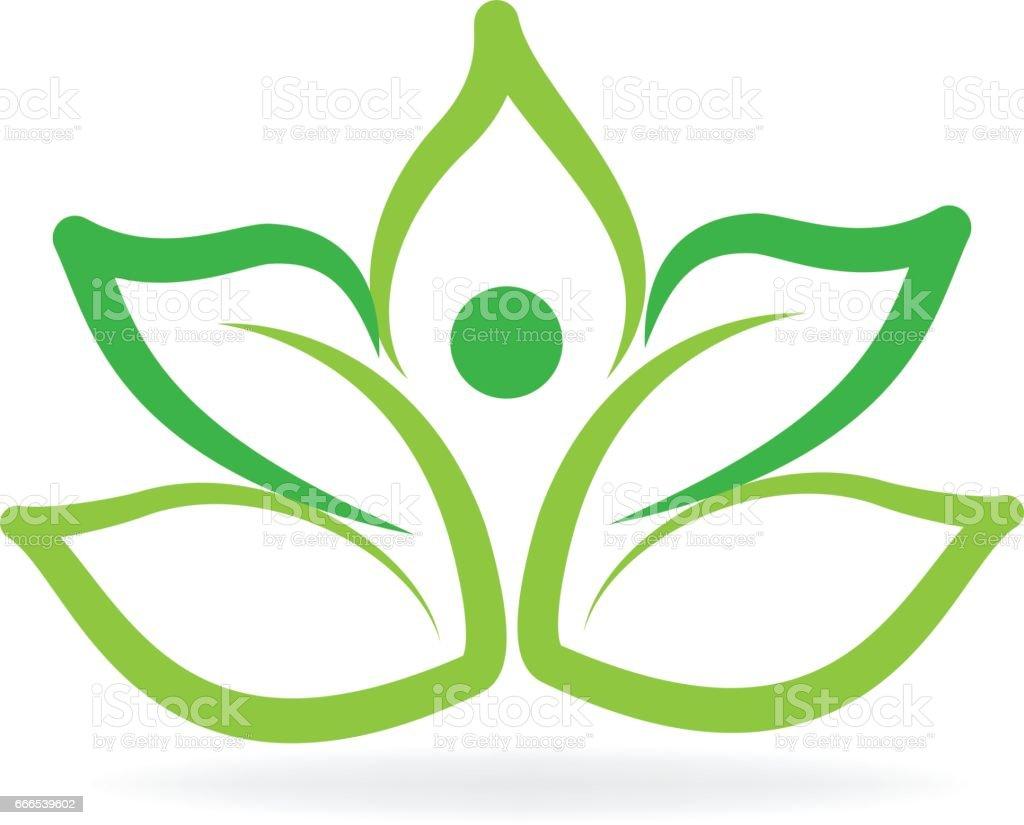 Yoga man green lotus flower logo vector art illustration