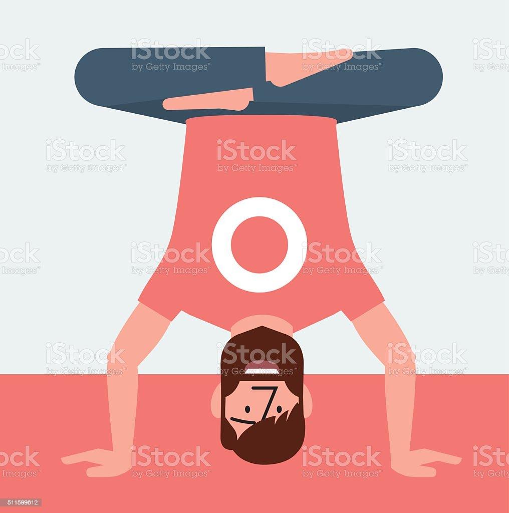 Yoga man up down vector art illustration