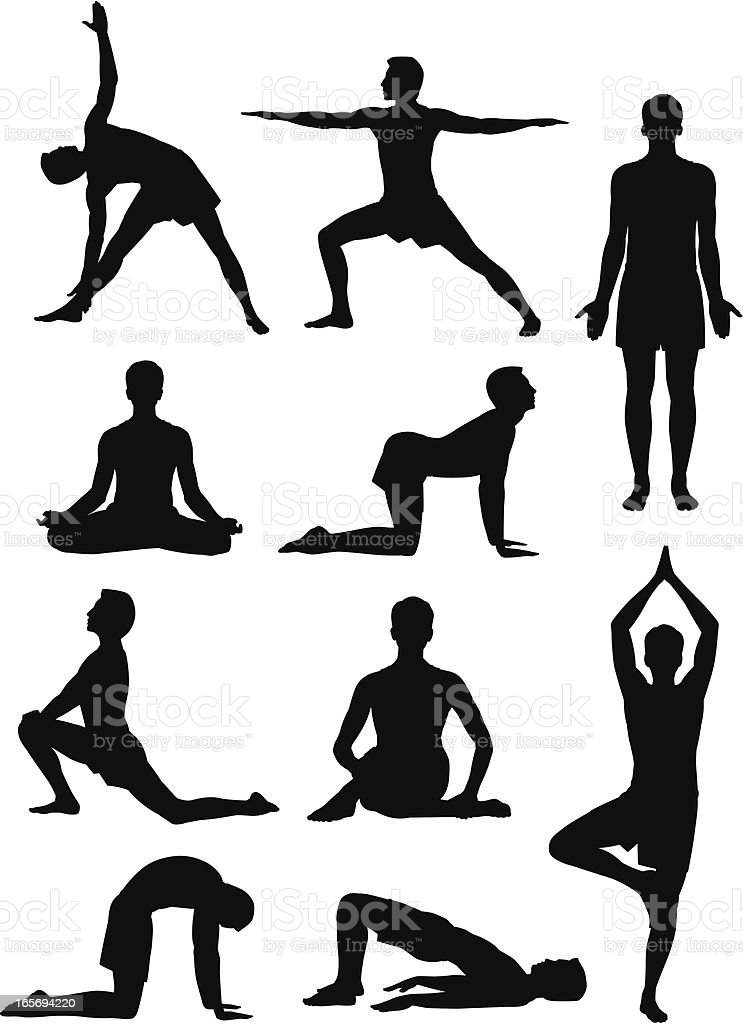 Yoga Man vector art illustration