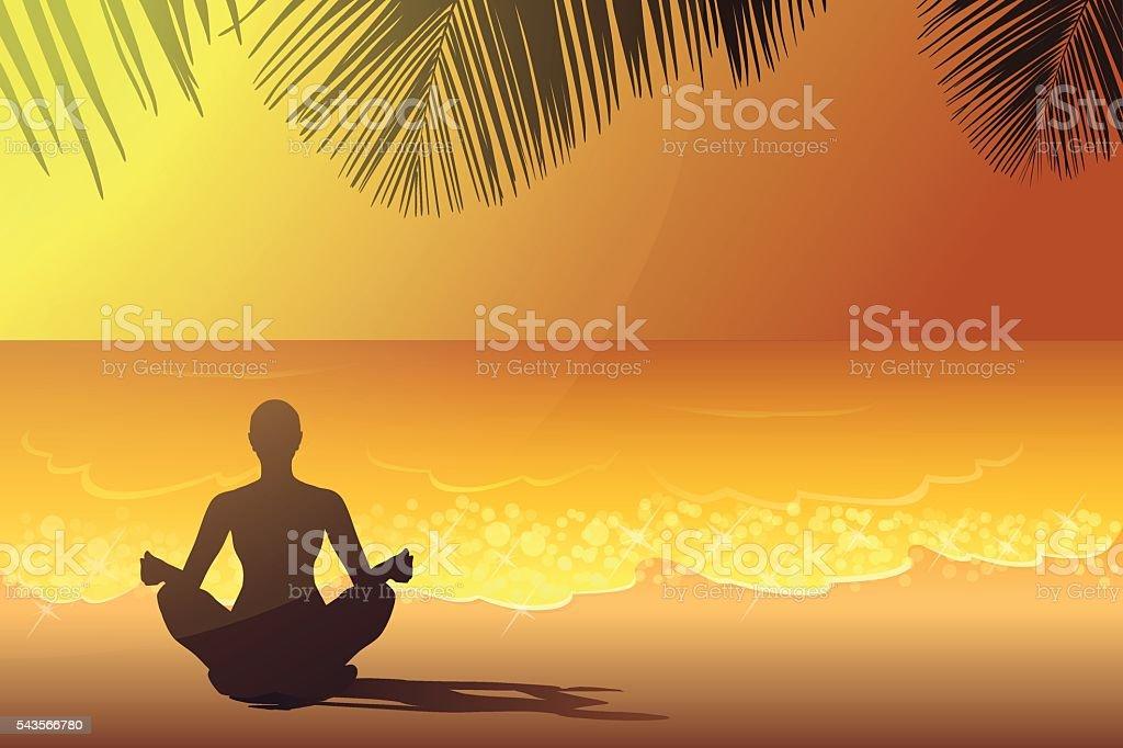 Yoga on the beach at the sunset vector art illustration