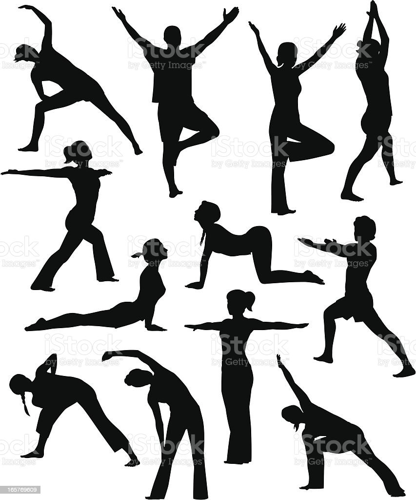 Yoga People vector art illustration