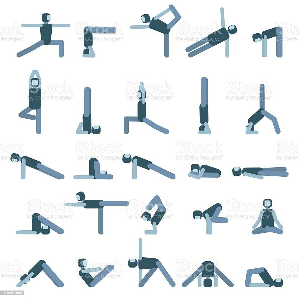 Yoga pose icon set. Collection of asanas.Vector illustration. vector art illustration