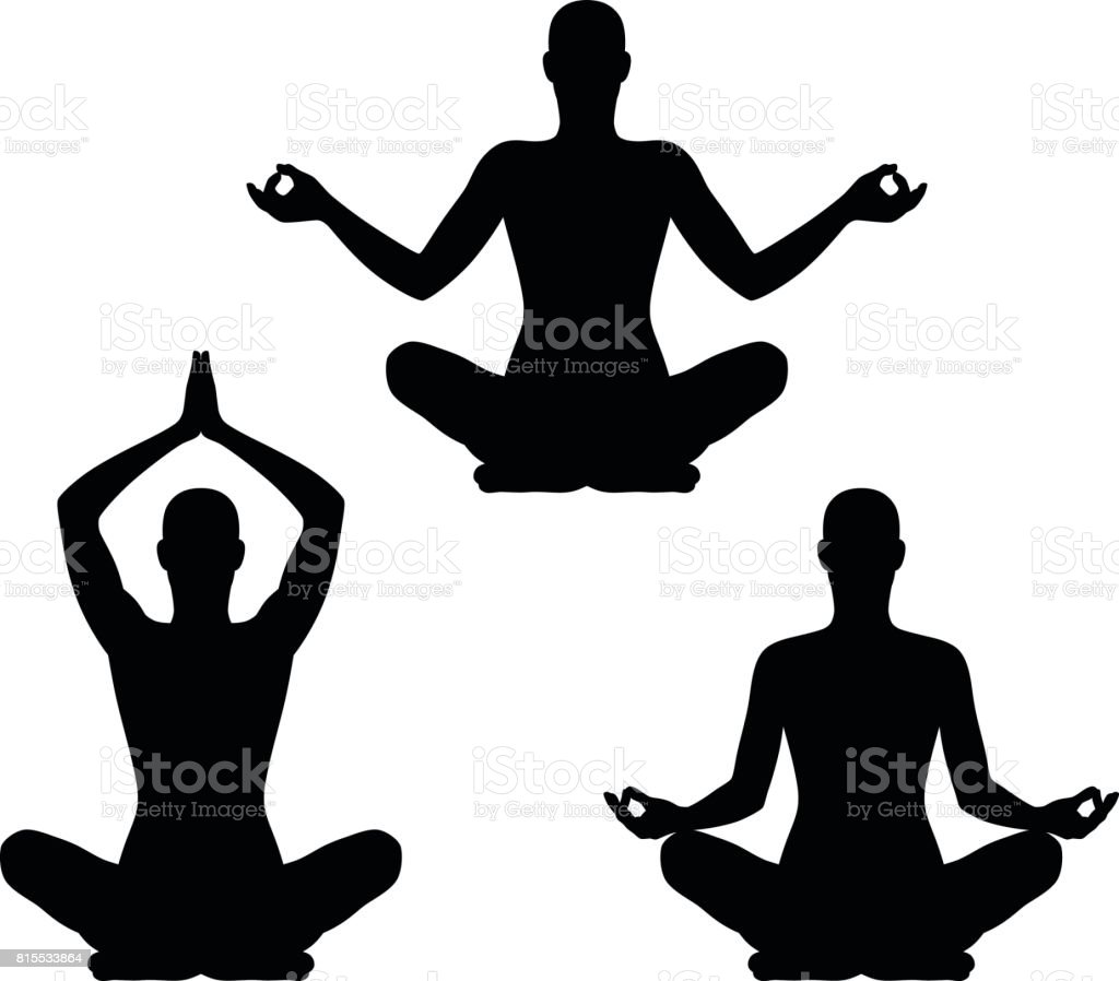 Yoga pose set vector art illustration