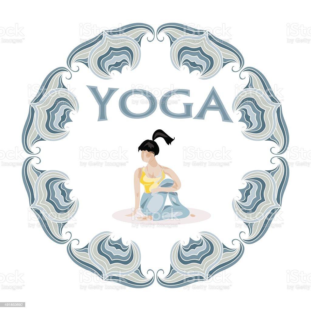 Yoga pose vector logo vector art illustration