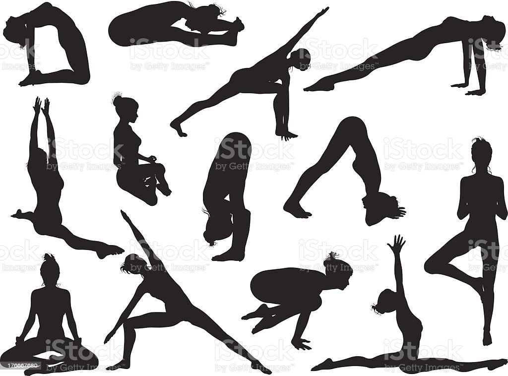 Yoga pose women silhouettes vector art illustration