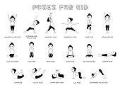 Yoga Poses For Kid Vector Illustration Monochrome