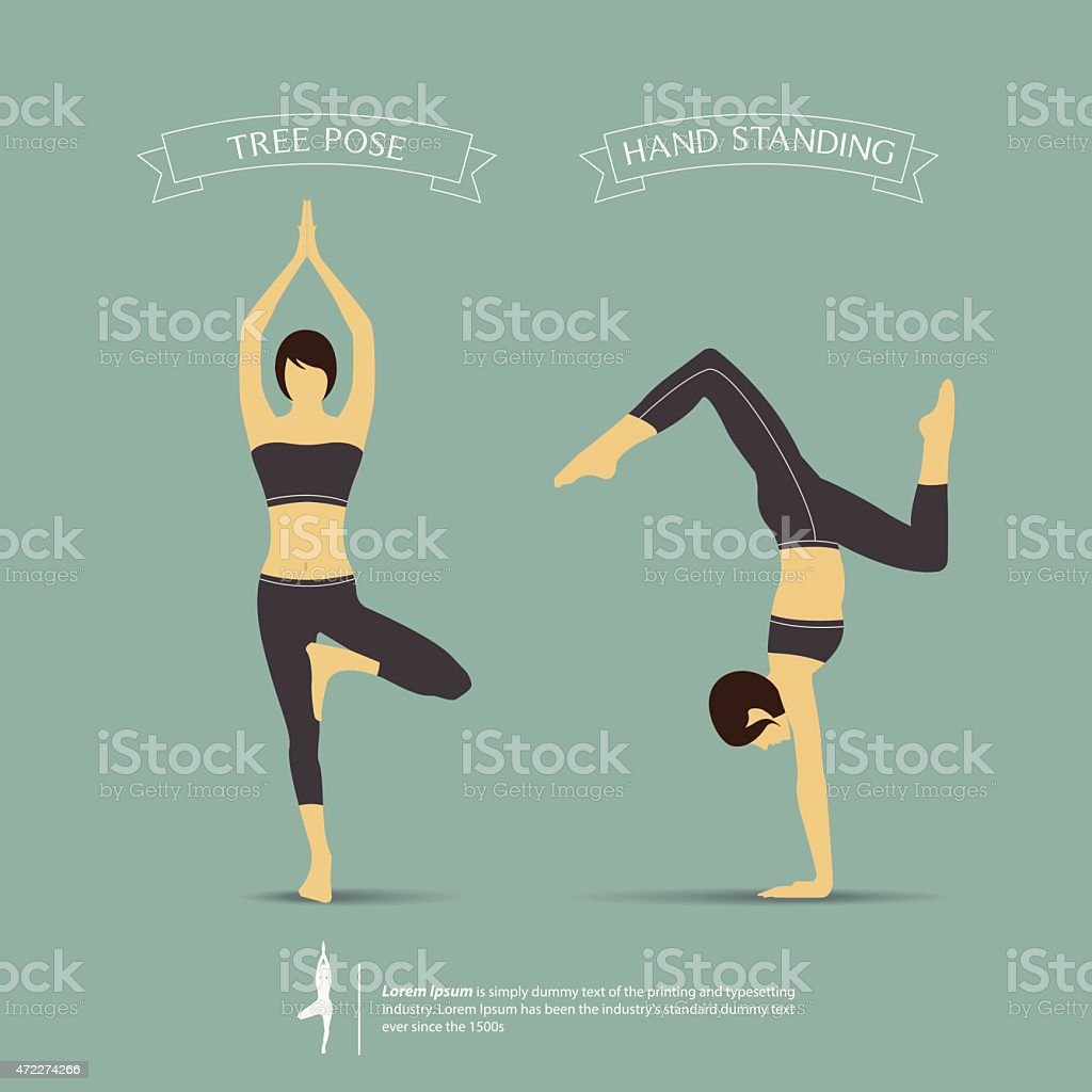 Yoga poses in two position. Tree pose and Hand standing pose. vector art illustration