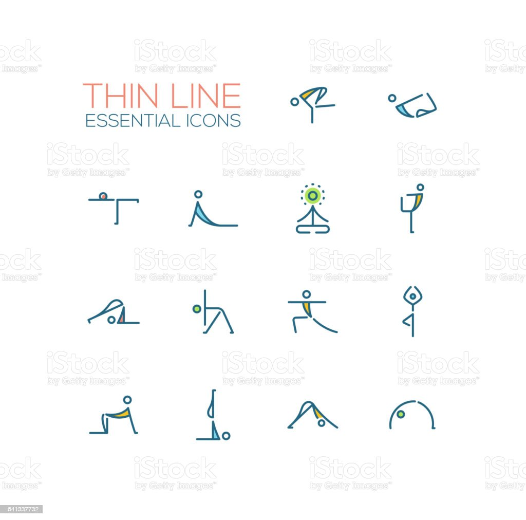 Yoga Poses - Thin Single Line Icons Set vector art illustration