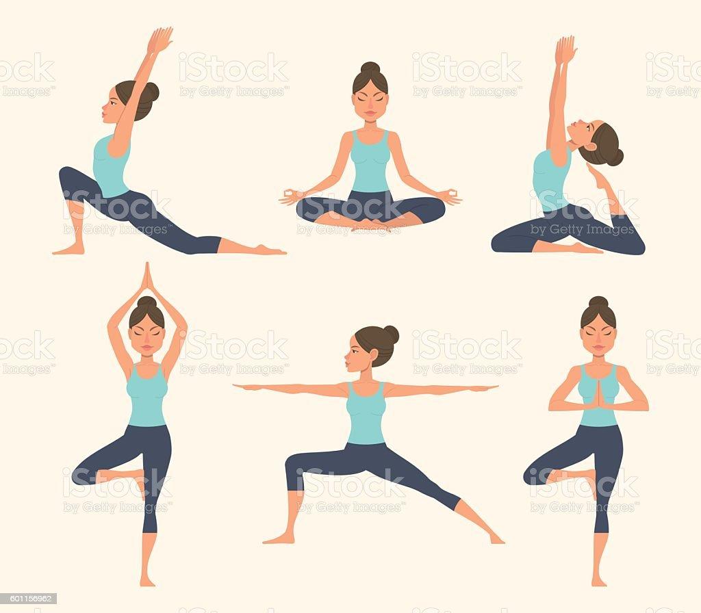 Yoga poses. vector art illustration