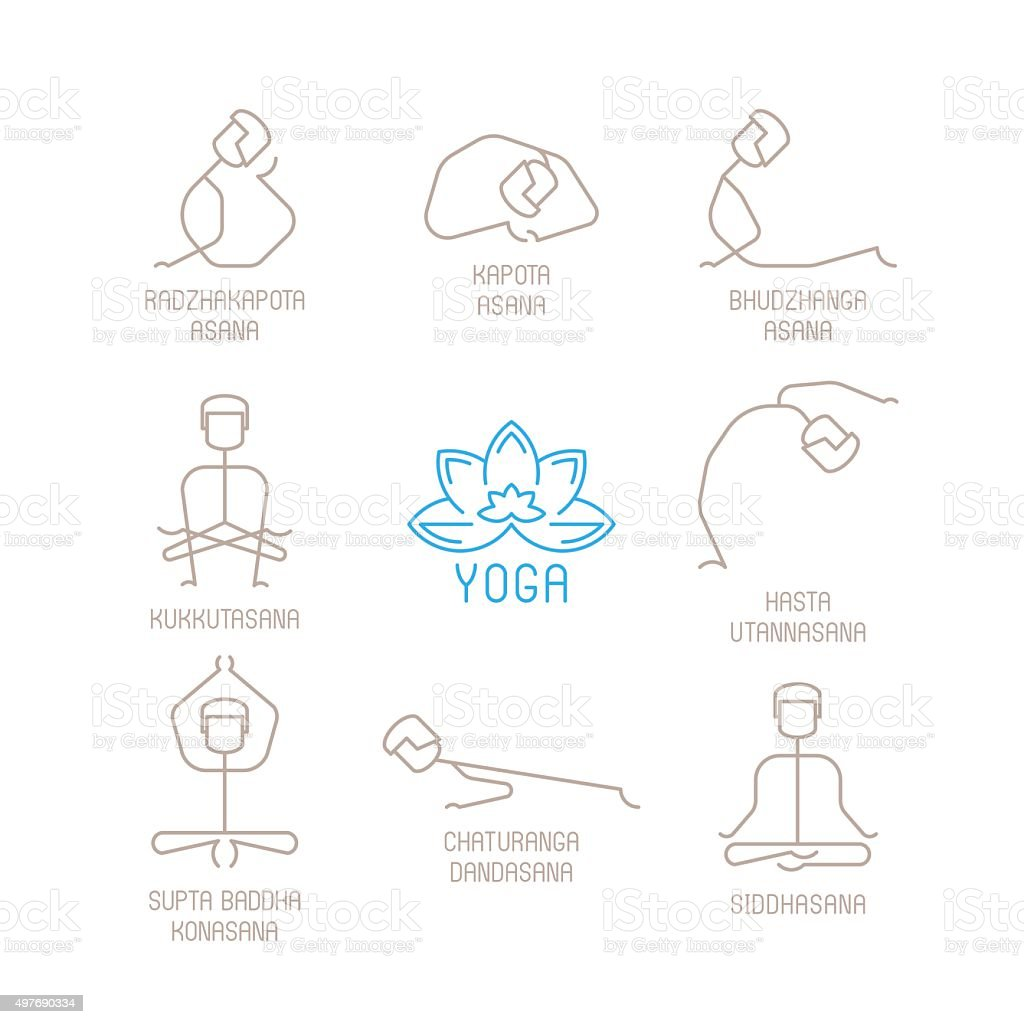 Yoga poses vector illustration in mono line style vector art illustration