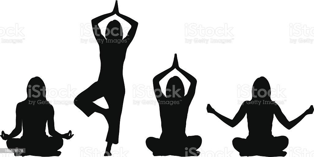 Yoga positions - Woman vector art illustration