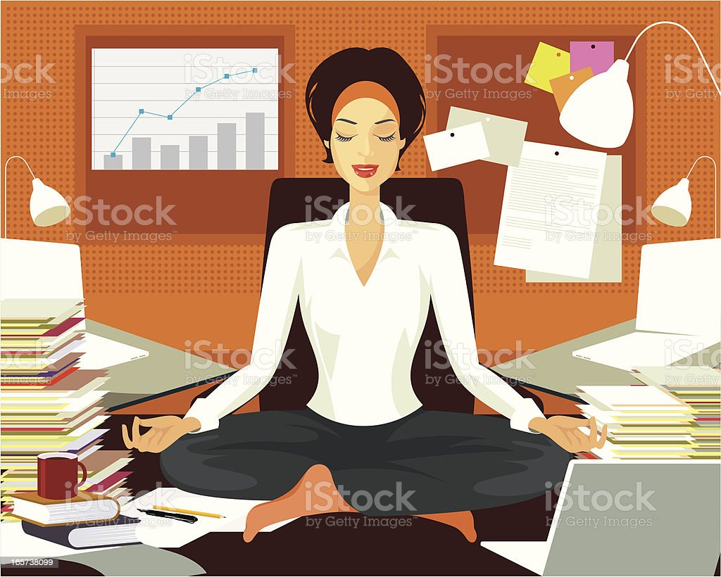 Yoga practice in a busy office. vector art illustration