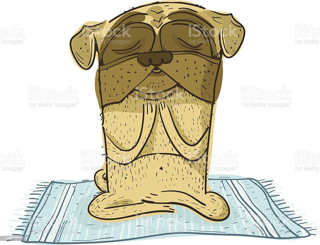 Yoga Pug vector art illustration