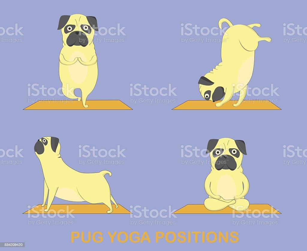 Yoga pugs set vector art illustration