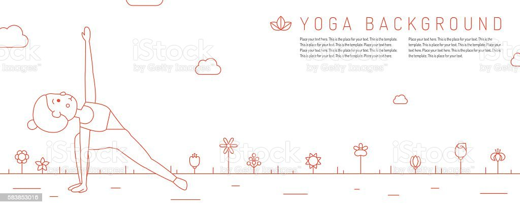 Yoga red horizontal background with young woman and flowers. vector art illustration