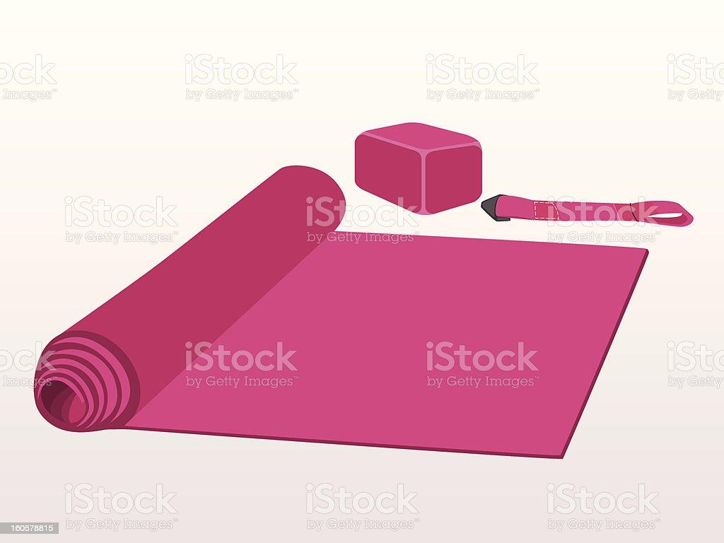 Yoga Set (mat, block, belt) vector art illustration