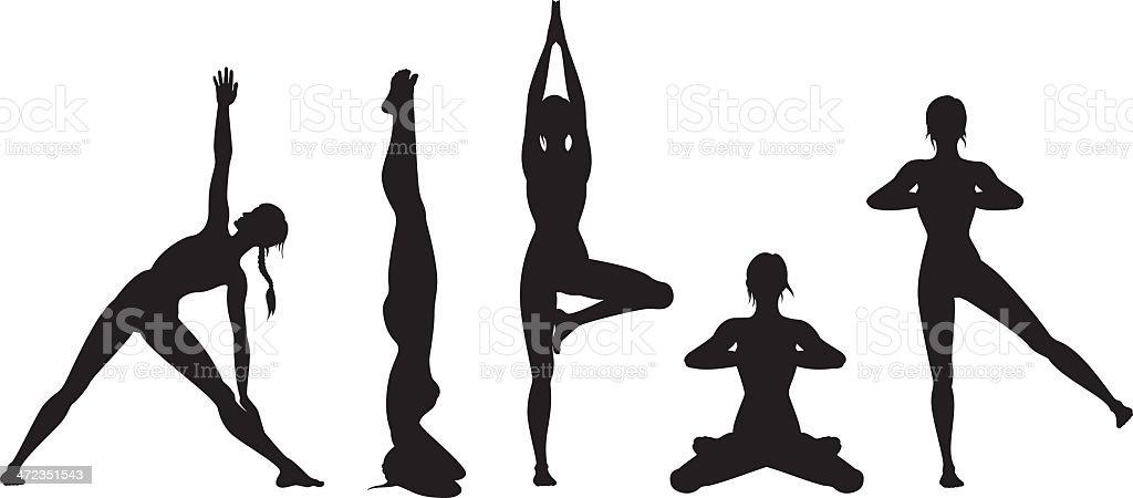 Yoga silhouette set vector art illustration