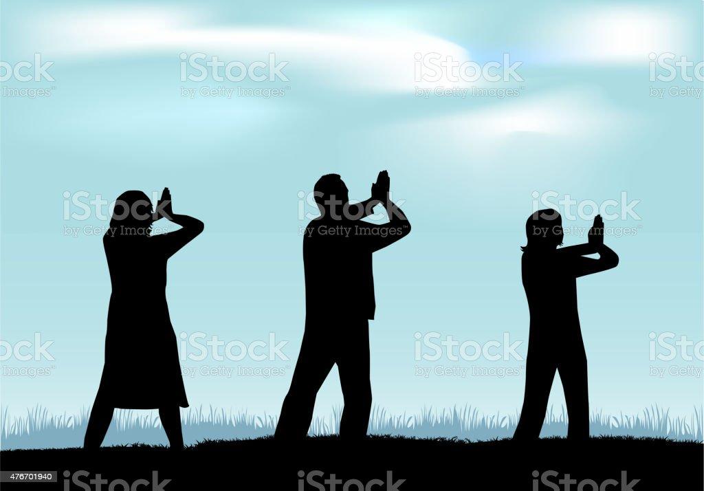 Yoga - silhouettes of people. vector art illustration