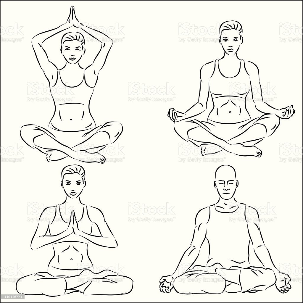 Yoga sketch set royalty-free stock vector art