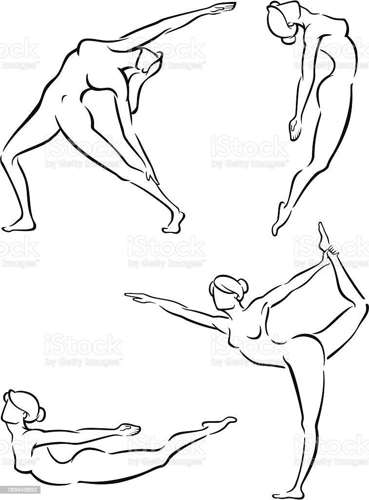 Yoga Stance Set royalty-free stock vector art