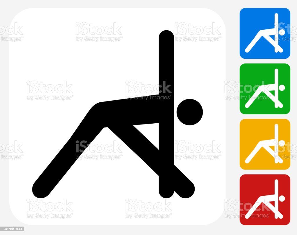 Yoga Stretch Icon Flat Graphic Design vector art illustration