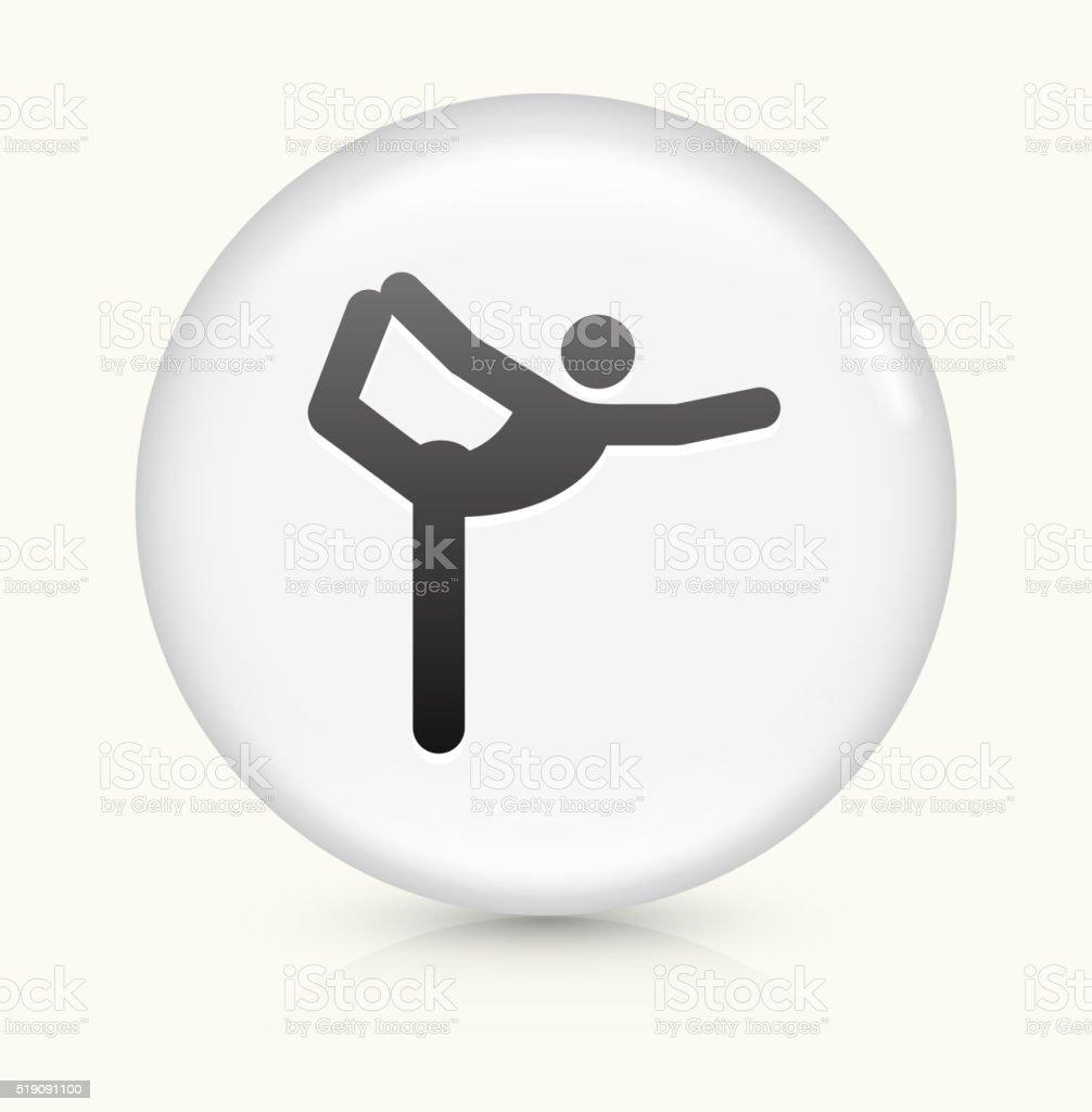 Yoga Stretch icon on white round vector button vector art illustration