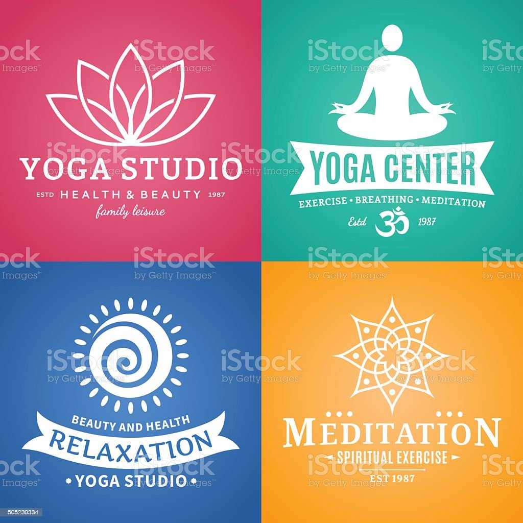 Yoga Studio Labels, Icons and Design Elements vector art illustration