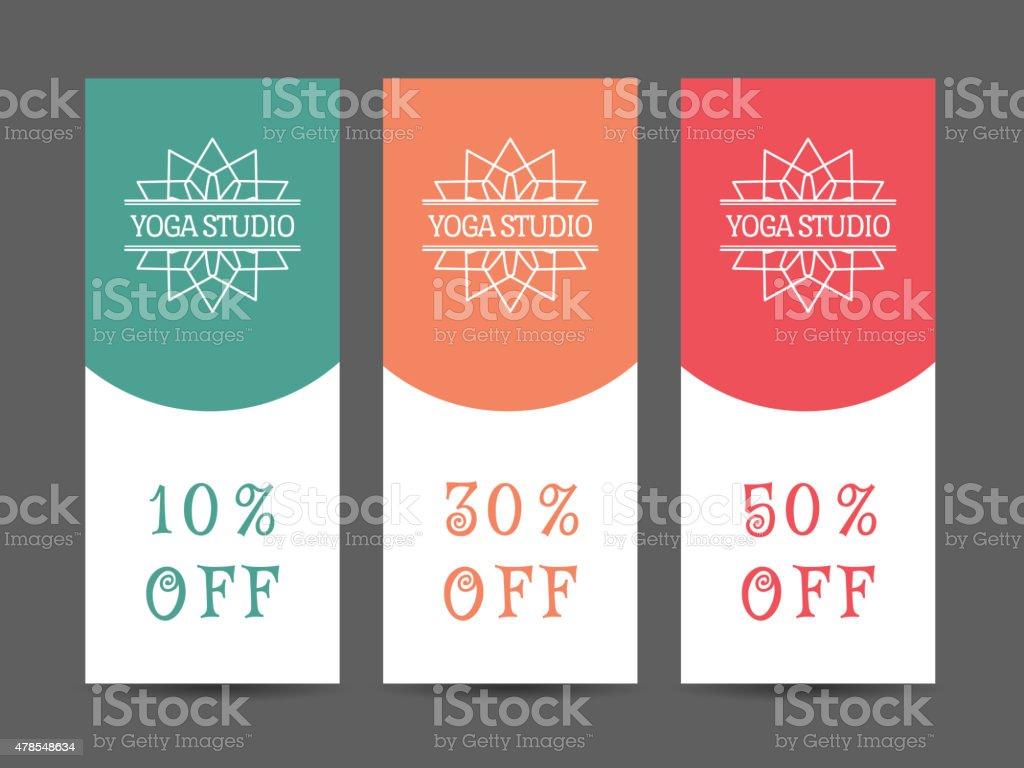 yoga studio vector discount coupon template stock vector art 1 credit