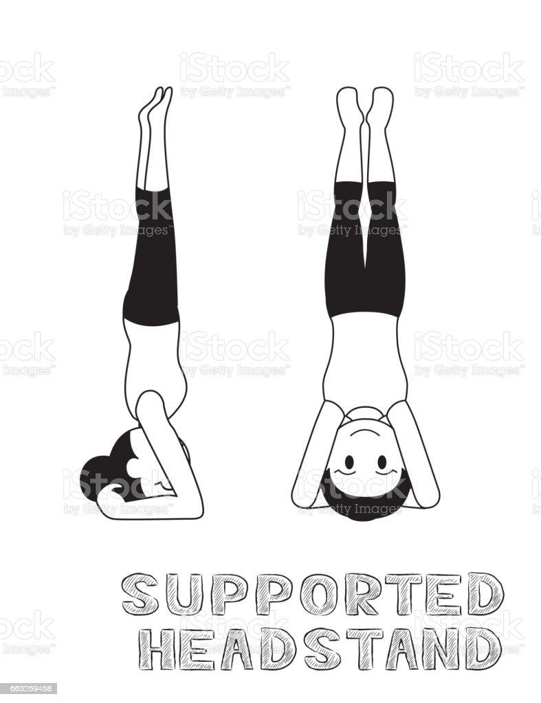 Yoga Supported Headstand Cartoon Vector Illustration Monochrome vector art illustration