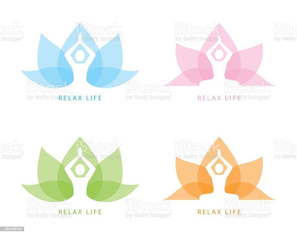 Yoga symbol icon design vector art illustration