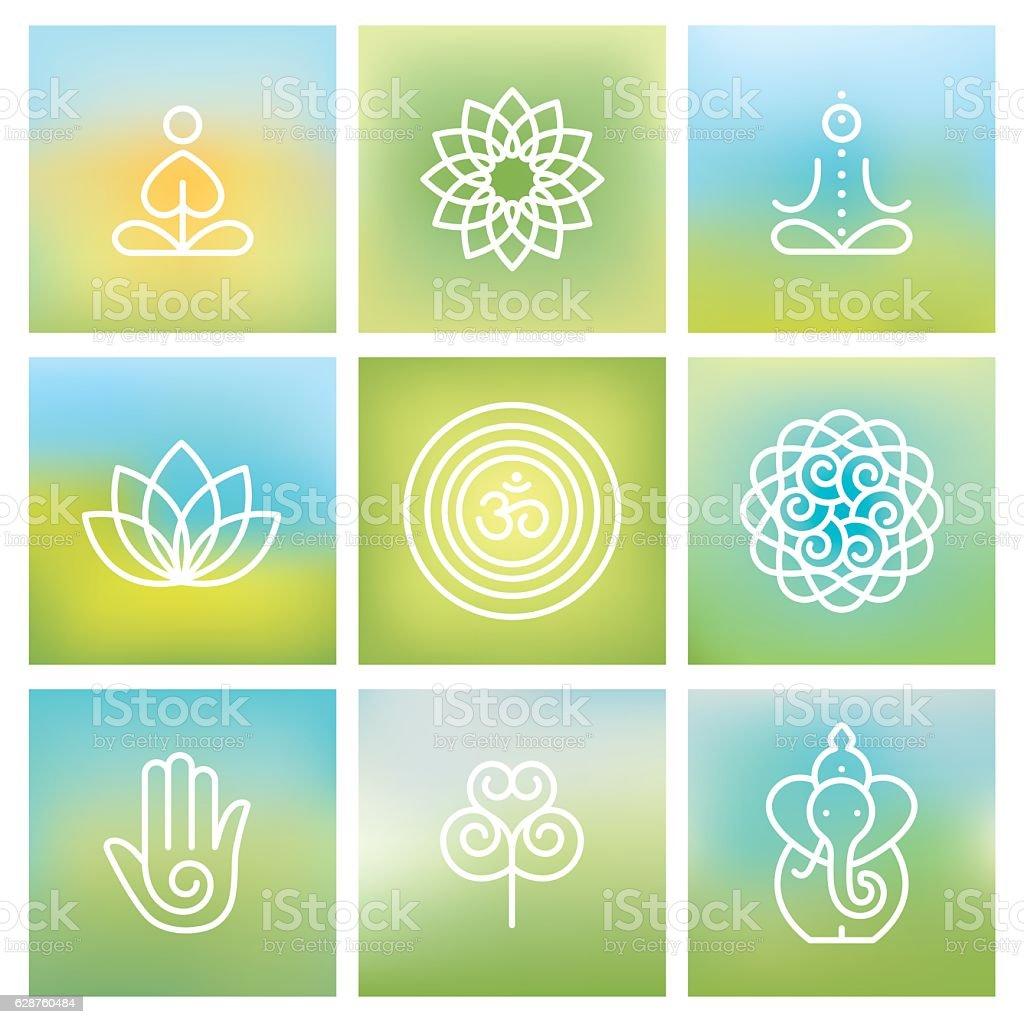 Yoga symbols vector art illustration