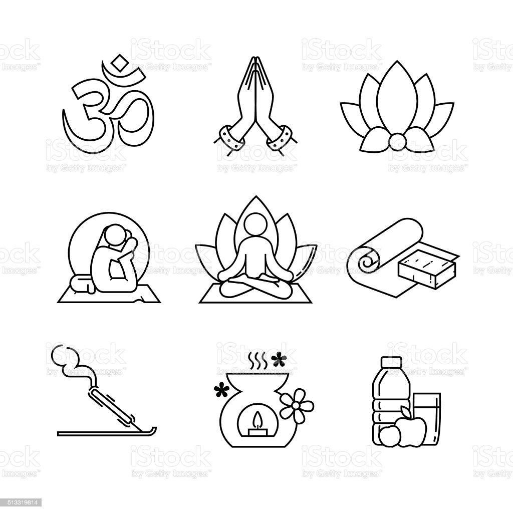 Yoga thin line art icons set vector art illustration